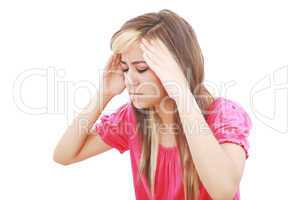 Woman with terrible headache or big problem