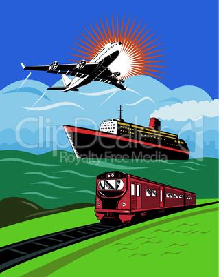 airplane train and boat retro