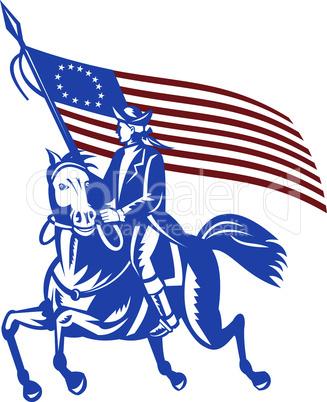american revolutionary horseback flag style