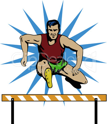 athlete hurdling retro