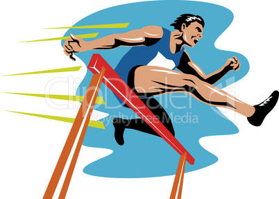 athlete jumping hurdle retro