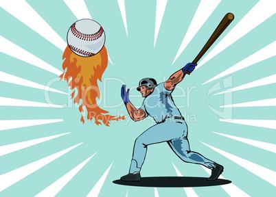 baseball batting ball flames retro