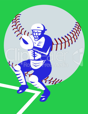 baseball catcher retro