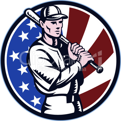 baseball player holding bat retro