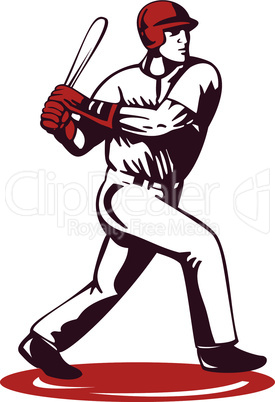 baseball player batting retro