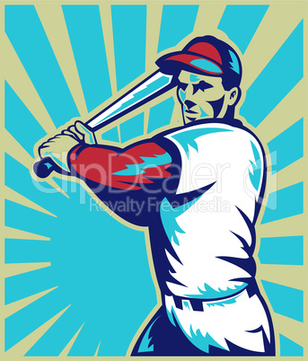 baseball player batting front retro