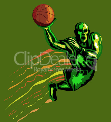 basketball dunking retro