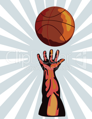 basketball hand reaching out retro