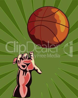 basketball hand reaching retro