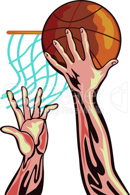 basketball hands dunking blocking retro