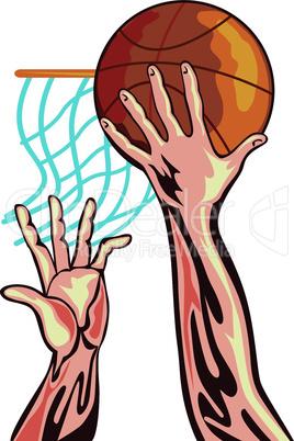 basketball hands dunking blocking retro