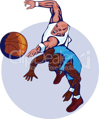 basketball players rebounding for ball retro