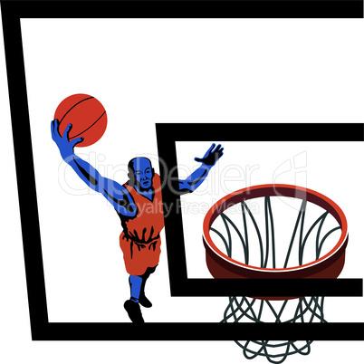 basketball lay up retro