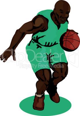 basketball dribbling front retro