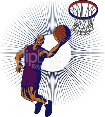 basketball layup front working retro