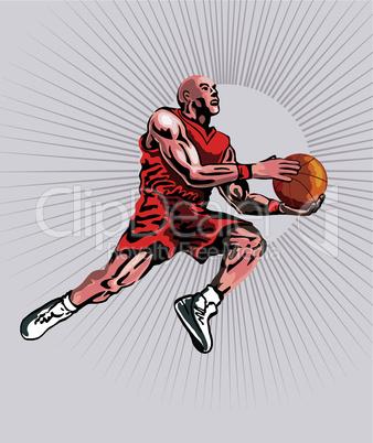 basketball layup underneath retro