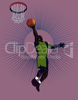 basketball layup retro