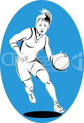 basketball woman dribbling retro