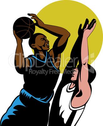 basketball shooting block retro