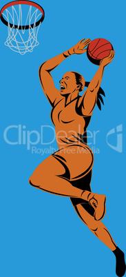 basketball woman layup retro