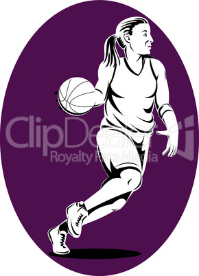 basketball woman dribbling retro