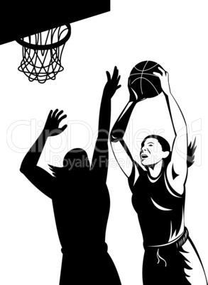 basketball women shot block retro