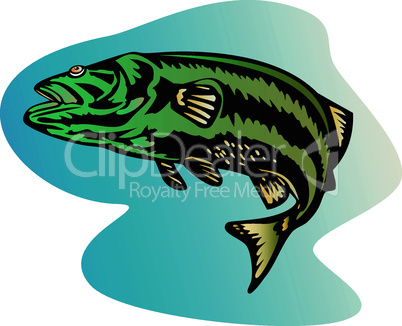 bass striped woodcut retro
