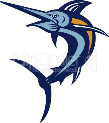 blue marlin jump pointing retro