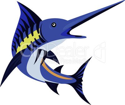 blue marlin art deco retro style