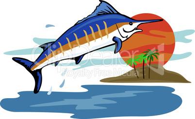 blue marlin jumping side retro