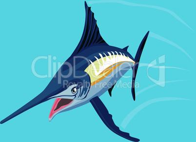 blue marlin jumping front retro