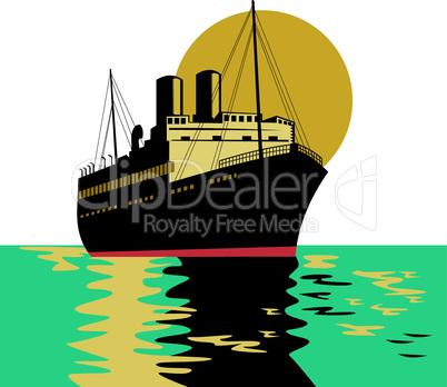 Passenger ship ocean liner boat retro