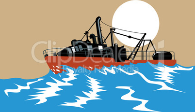 fishing boat sinking retro