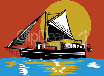 fishing boat schooner with sail retro