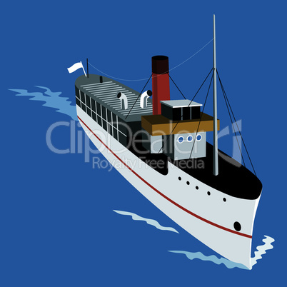 steamship steamboat retro