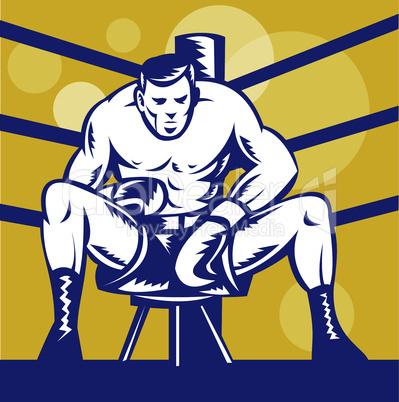 boxer sitting corner