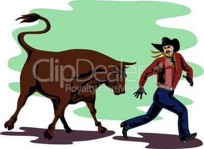 bull chasing rodeo cowboy