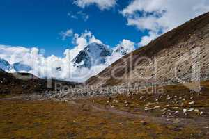 Himalayas landscape in autumn: hill and mountain peaks