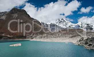 Sacred Lake and peaks not far from Gokyo in Himalayas