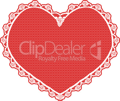 heart shape lace doily, white on red background
