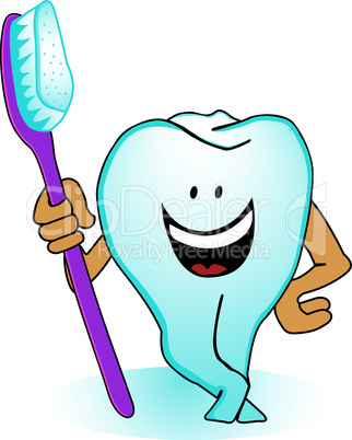 A tooth with a toothbrush
