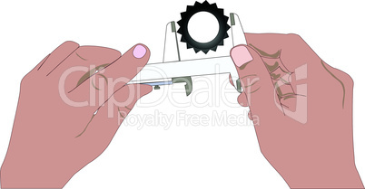Hands and caliper