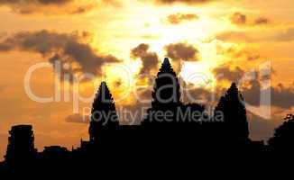 Angkor Wat temple silhouette