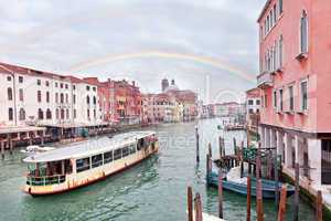 Grand channel in Venice with rainbow