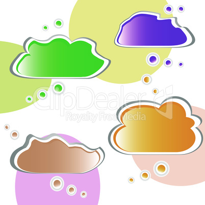 Paper cloud bubble for speech. vector set