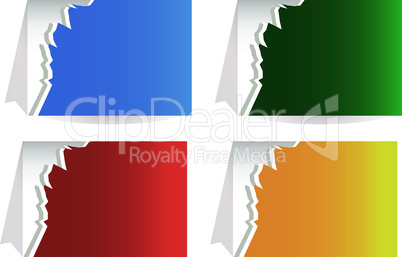 Torn paper banners set. vector label isolated on white