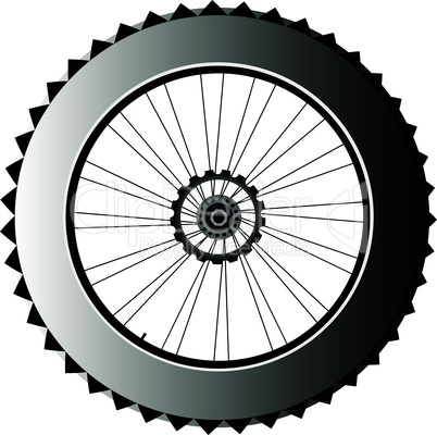 metal bike wheel with tire and spokes. vector