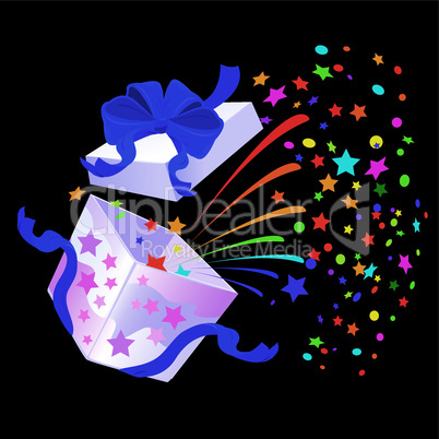 Open Gift Box with rainbow colors confetti booming on black background