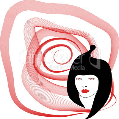 Silhouette of woman with red spiral on white