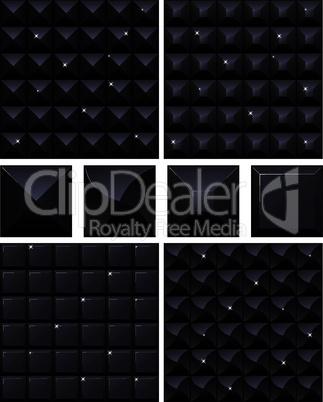 Set of 4 seamless black mosaic backgrounds